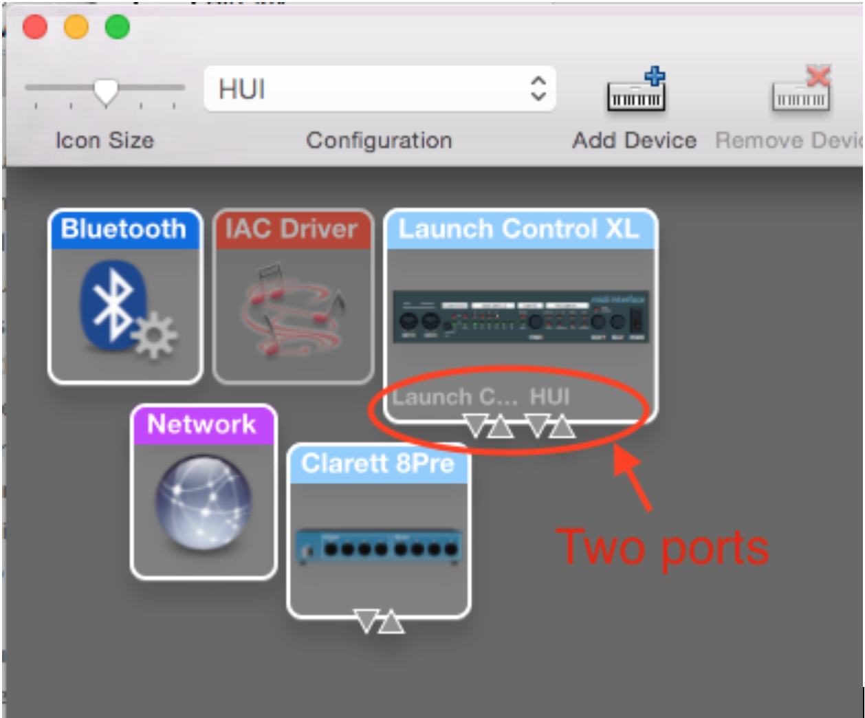 Launch Control Xl Hui Support Novation Logic Pro X Diagram Select Window Show Midi Studio And In The Ensure Is Showing Two Ports